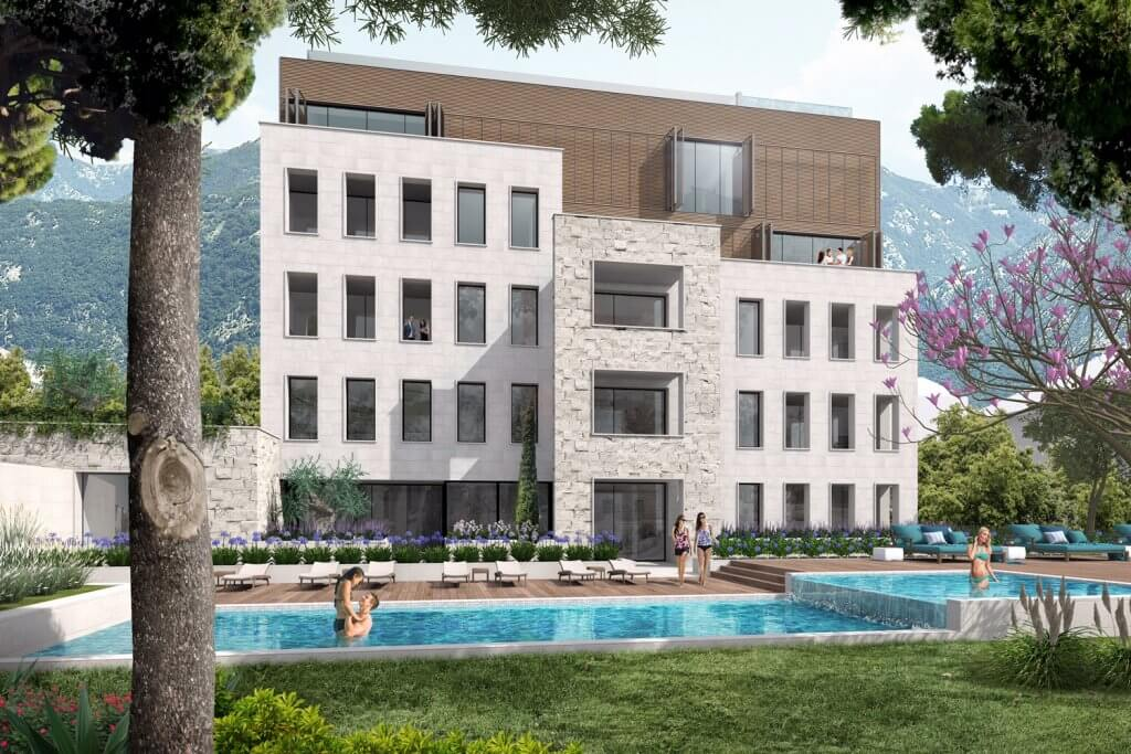 Tivat, center - luxury apartments 56m2 to 147m2, with swimming pool;