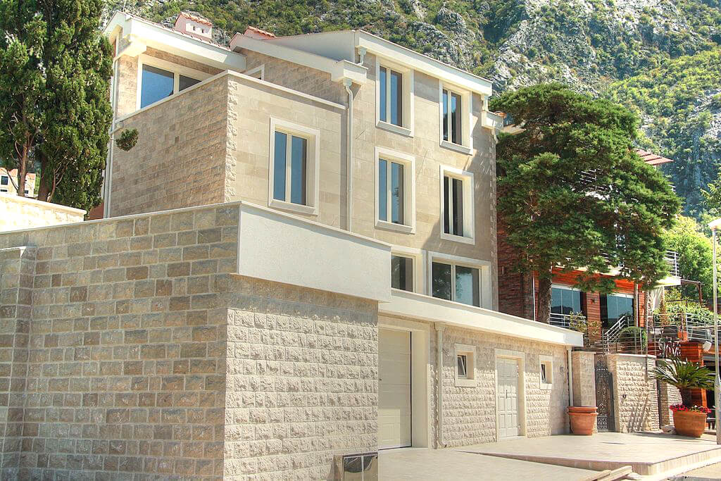 Kotor, Dobrota – new waterfront stone  villa of 420 m2
