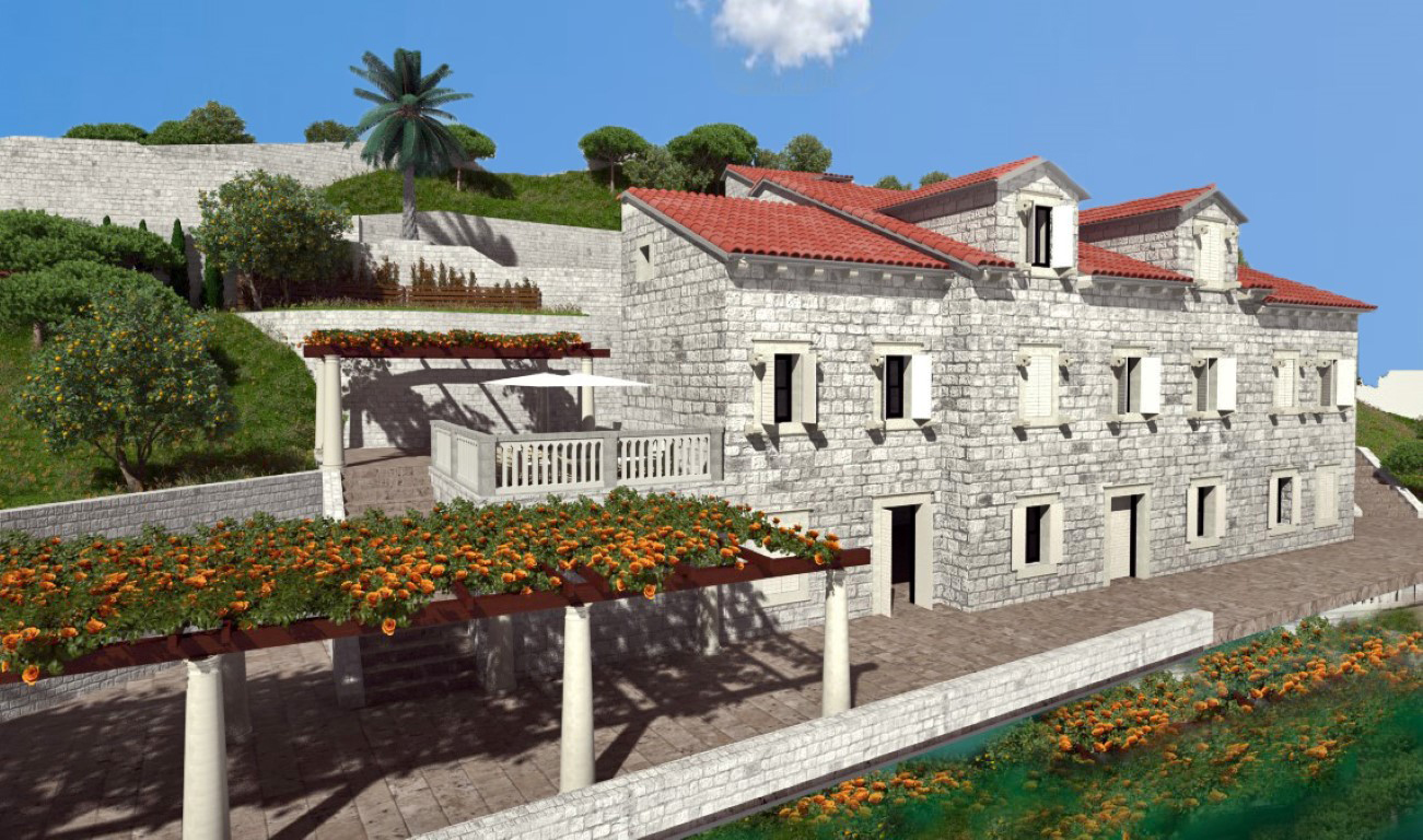 Perast, center – stone palace reconstruction project