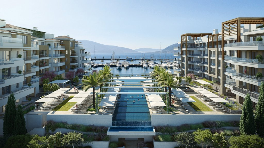 Porto Montenegro, Regent Pool Club – trosoban apartman s pogledom na bazen i more