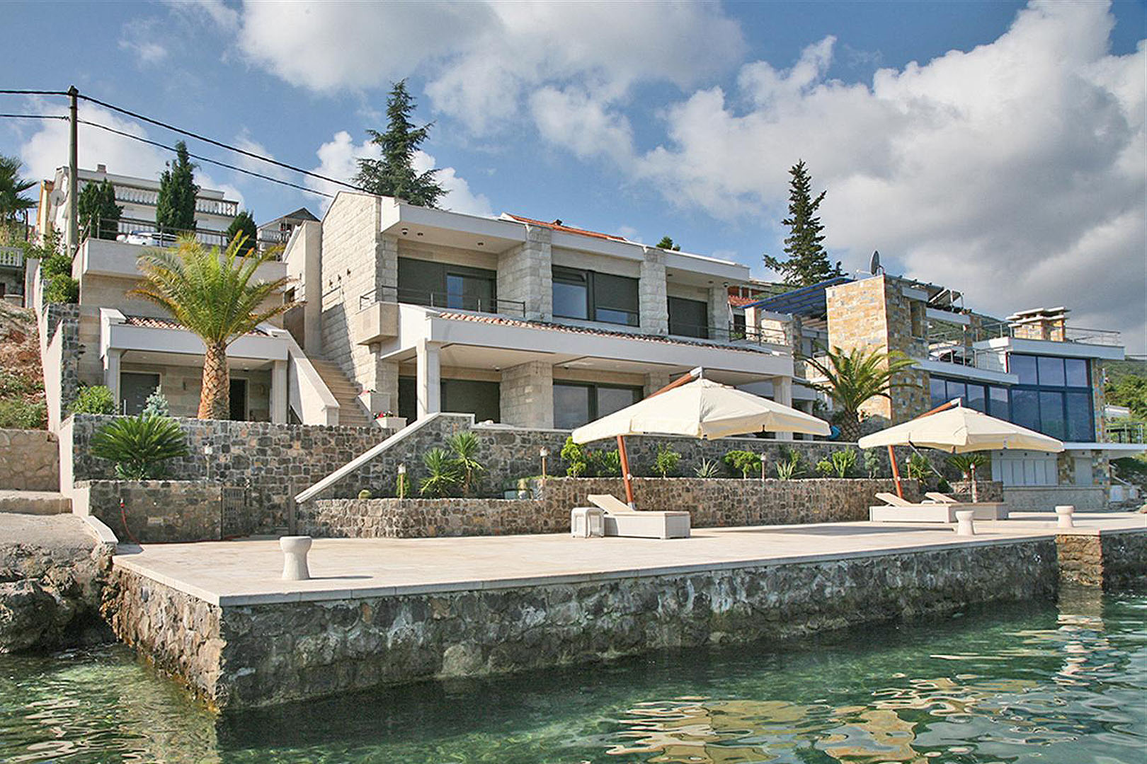 Tivat, Krasici – seafront villa with pier for two yachts