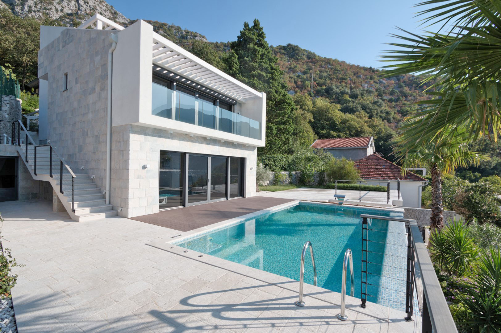 Kotor, Strp – luxury villa on the first line to the sea, on a plot of 1.200m2