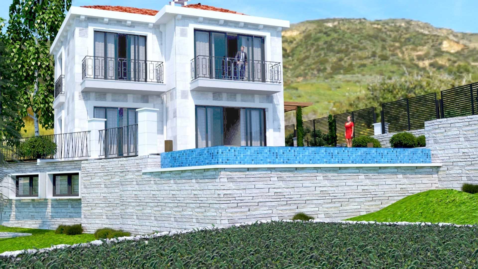 Budva, Perazica Do - new villa with a pool and sea views