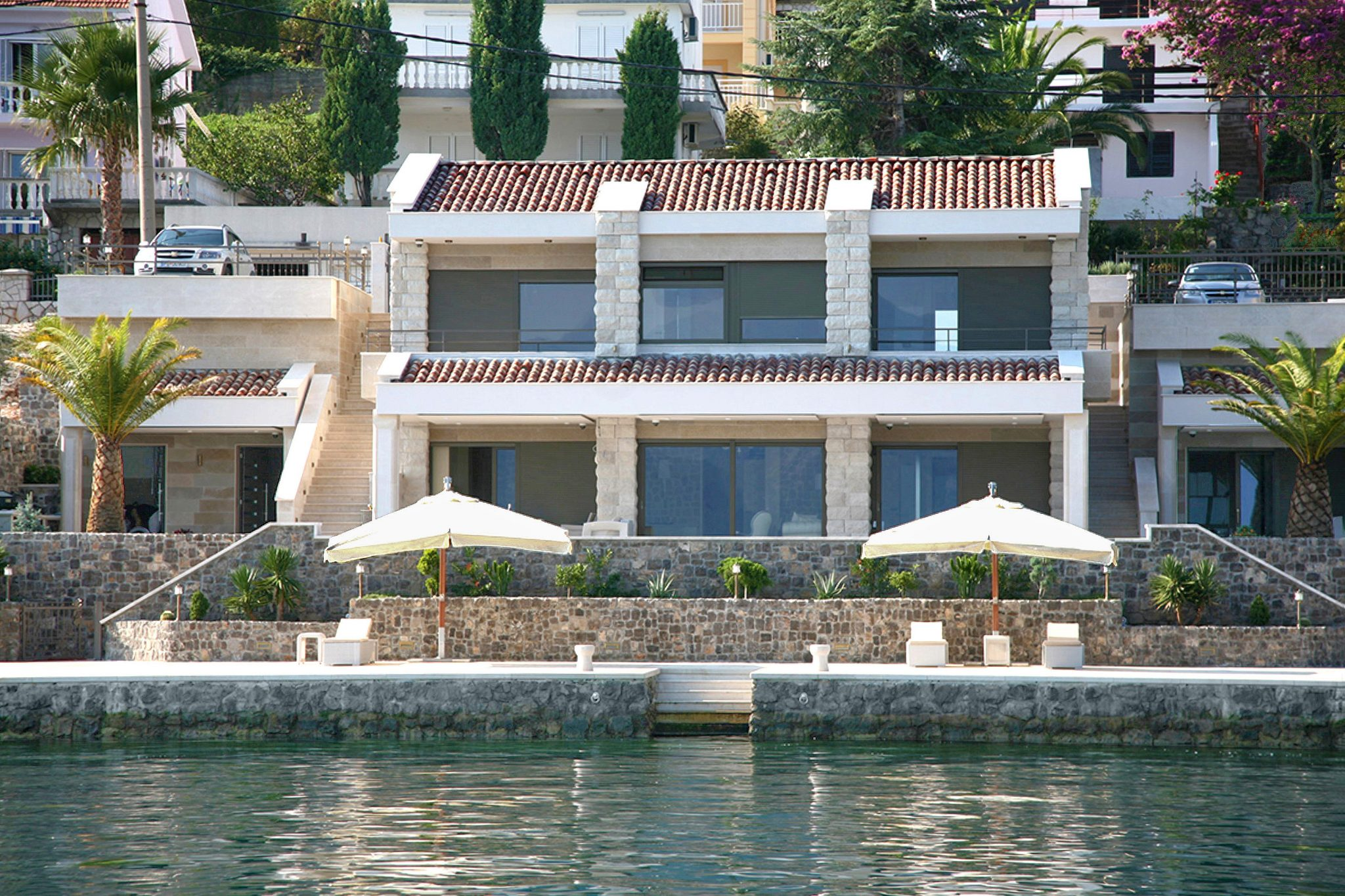 Tivat, Krasici – seafront villa with a pier for two yachts