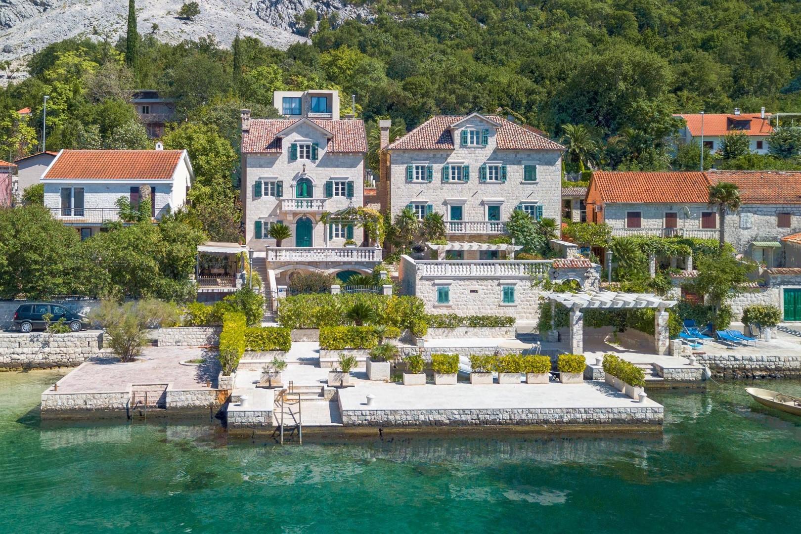 Kotor, Ljuta – renovirana kamena vila s pontom, na prvoj liniji do mora