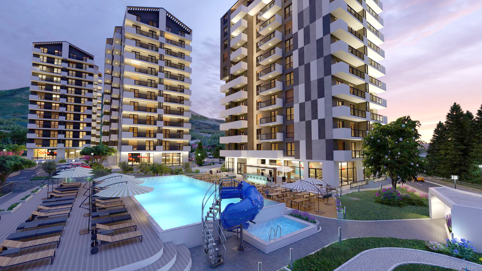 Bar, Bjelisi – luxury apartments in a complex with pool and sea view